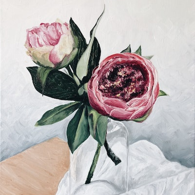 (CreativeWork) Peonies in glass jar on white cloth  by Vanessa Bartholomaeus. oil-painting. Shop online at Bluethumb.