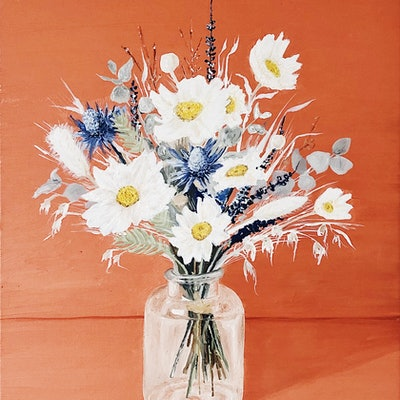 (CreativeWork) Daisies and Seaholly  by Vanessa Bartholomaeus. oil-painting. Shop online at Bluethumb.