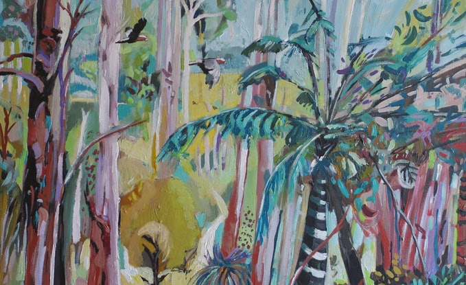 (CreativeWork) Abstract landscape  - Striped Palm Tree by Susan Trudinger. Acrylic Paint. Shop online at Bluethumb.