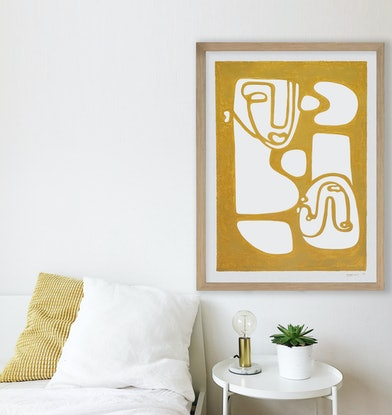 (CreativeWork) Connected - Yellow, A1 Timber Frame V2 by Angus Martin. Acrylic Paint. Shop online at Bluethumb.