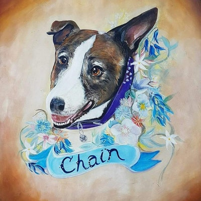 (CreativeWork) Chain by Karen Maree Scott. acrylic-painting. Shop online at Bluethumb.