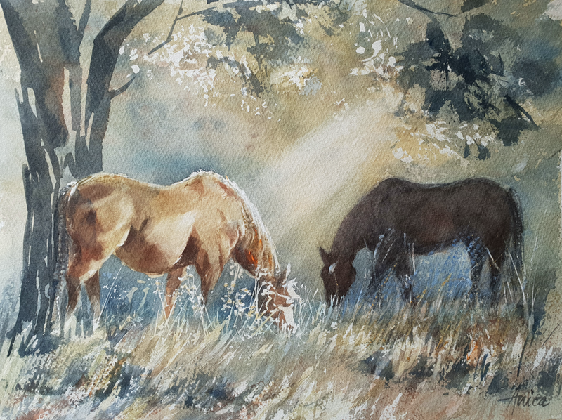 (CreativeWork) Golden Grazing by Anica Amphlett. watercolour. Shop online at Bluethumb.