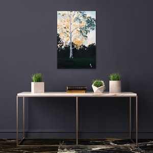 (CreativeWork) Golden Eucalyptus by Meredith Howse. oil-painting. Shop online at Bluethumb.
