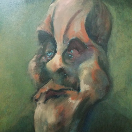 (CreativeWork) The Bouncer by Edgar Alvarez. Oil Paint. Shop online at Bluethumb.