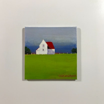 (CreativeWork) RED BARN IN GREEN MEADOW #1 by LOUISE GROVE WIECHERS. Acrylic Paint. Shop online at Bluethumb.