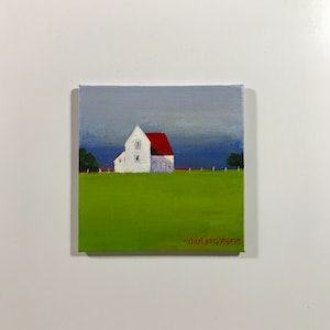 (CreativeWork) RED BARN IN GREEN MEADOW #1 by LOUISE GROVE WIECHERS. #<Filter:0x00007f7ba073f488>. Shop online at Bluethumb.