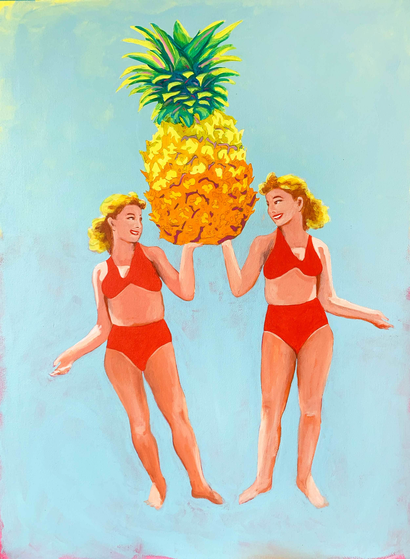 (CreativeWork) Heroing the Pineapple by Maz Dixon. Oil Paint. Shop online at Bluethumb.