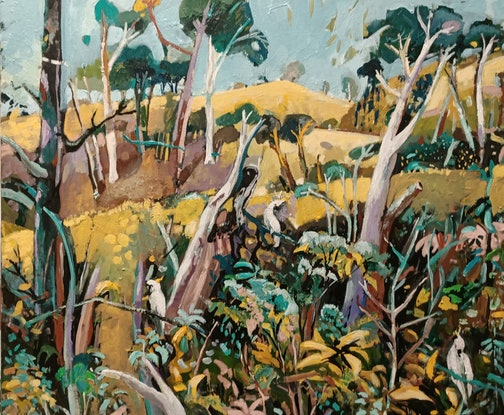 (CreativeWork) Abstract landscape  - Bush Cockies by Susan Trudinger. Acrylic Paint. Shop online at Bluethumb.