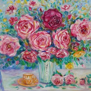(CreativeWork) Tea and Roses by Joanne Scriha. oil-painting. Shop online at Bluethumb.