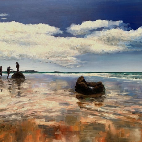 (CreativeWork) The Climb - Koekohe Beach by James Wild. Oil Paint. Shop online at Bluethumb.