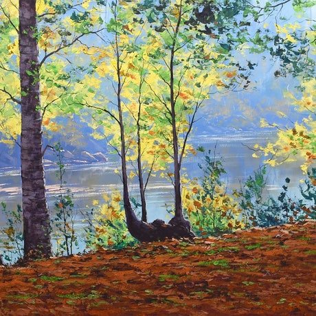 (CreativeWork) River through the trees, Tumut by Graham Gercken. Oil Paint. Shop online at Bluethumb.