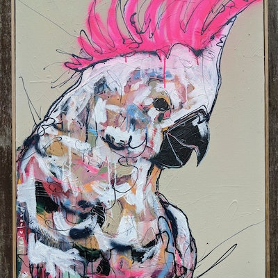 (CreativeWork) Her Neon Crest by Aidan Weichard. mixed-media. Shop online at Bluethumb.