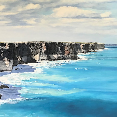 (CreativeWork) Great Australian Bight by M.A. Hobbs. Oil Paint. Shop online at Bluethumb.