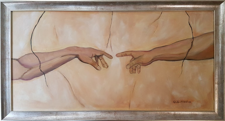 "(CreativeWork) ""The hand of God"" by Glenda McLachlan. Oil Paint. Shop online at Bluethumb."
