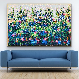 (CreativeWork) Herbaceous borders  183x122  framed large abstract by Sophie Lawrence. acrylic-painting. Shop online at Bluethumb.