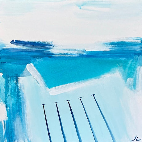 (CreativeWork) Aqua Icebergs by Jennifer Lia. Acrylic Paint. Shop online at Bluethumb.