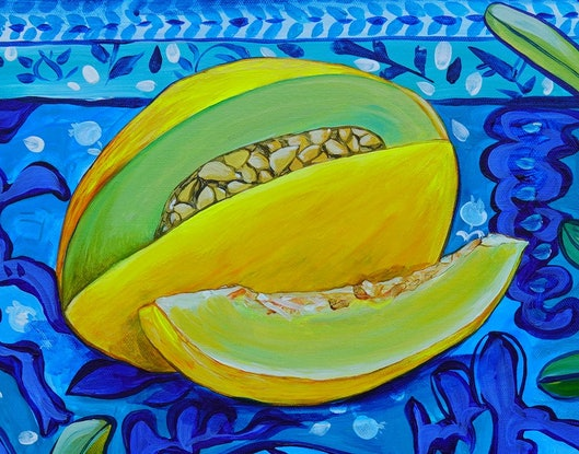 (CreativeWork) Still Life with Melon by Katerina Apale. Acrylic Paint. Shop online at Bluethumb.