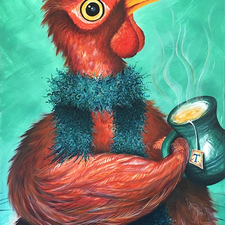 (CreativeWork) Cozy Chicken by Nevena Nikolic. Acrylic Paint. Shop online at Bluethumb.