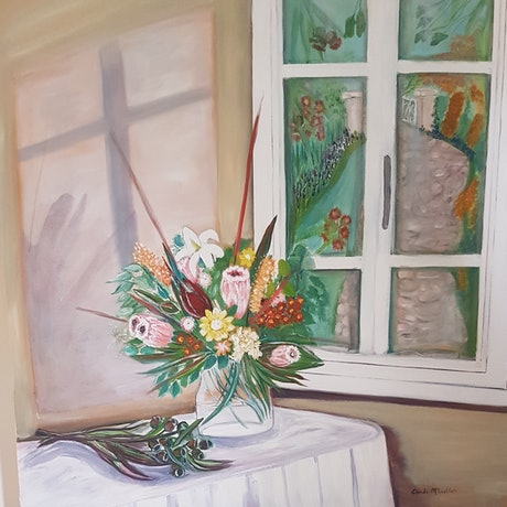 "(CreativeWork) ""Window reflections"" by Glenda McLachlan. Oil Paint. Shop online at Bluethumb."