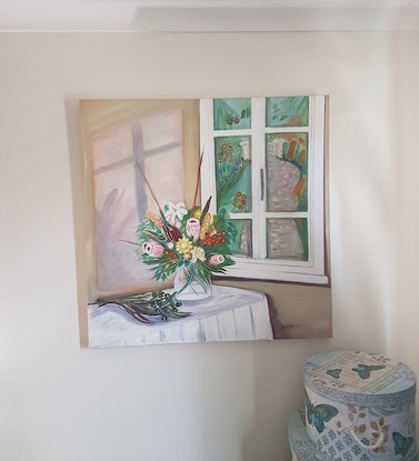 """(CreativeWork) """"Window reflections"""" by Glenda McLachlan. Oil Paint. Shop online at Bluethumb."""