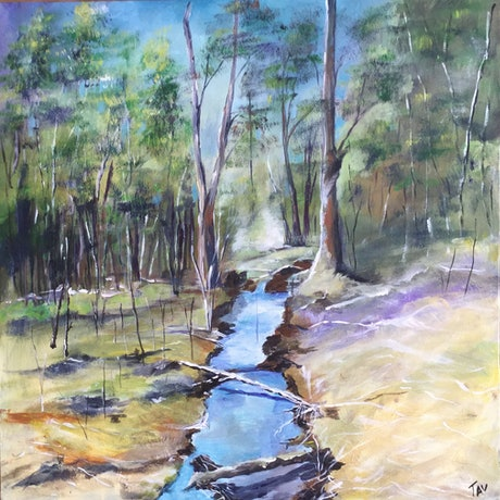 (CreativeWork) The Beginning by Teresa Verney. Acrylic Paint. Shop online at Bluethumb.