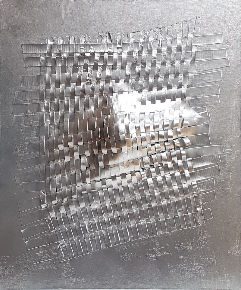 (CreativeWork) Silver Enmeshed by Julee Latimer. Acrylic Paint. Shop online at Bluethumb.