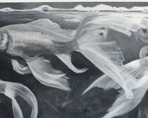 (CreativeWork) Dancing goldfish by Michelle Angelique. Acrylic Paint. Shop online at Bluethumb.