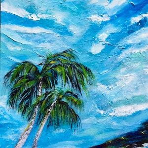 (CreativeWork) Beyond The Tropical  Sky by Carol Lindsay. acrylic-painting. Shop online at Bluethumb.