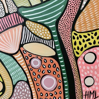 (CreativeWork) High Vibration by Hayley Mischief Lord. Acrylic Paint. Shop online at Bluethumb.