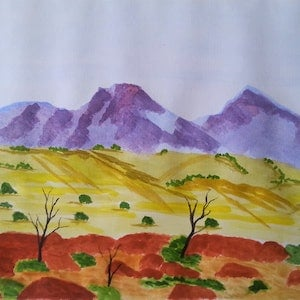 (CreativeWork) Mount Sonders. Central Australia. by owen jones. watercolour. Shop online at Bluethumb.