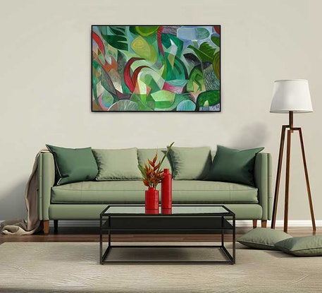 (CreativeWork) Landscape with Fire  by _ Tillian _. Acrylic Paint. Shop online at Bluethumb.