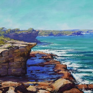 (CreativeWork) Bondi to Coogee view by Graham Gercken. oil-painting. Shop online at Bluethumb.
