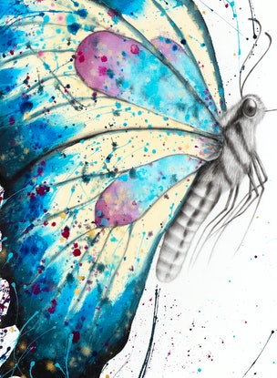 (CreativeWork) Picnic Butterfly by Ashvin Harrison. Acrylic Paint. Shop online at Bluethumb.
