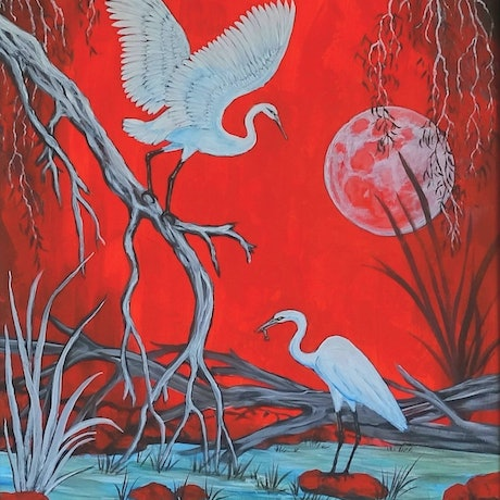 (CreativeWork) RED MOON by Pam Hume. Acrylic Paint. Shop online at Bluethumb.