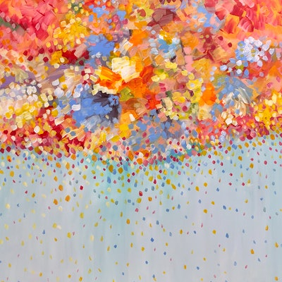 (CreativeWork) Orchestra of Petals  by Theo Papathomas. acrylic-painting. Shop online at Bluethumb.