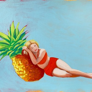 (CreativeWork) Pineapple Princess #4 by Maz Dixon. oil-painting. Shop online at Bluethumb.
