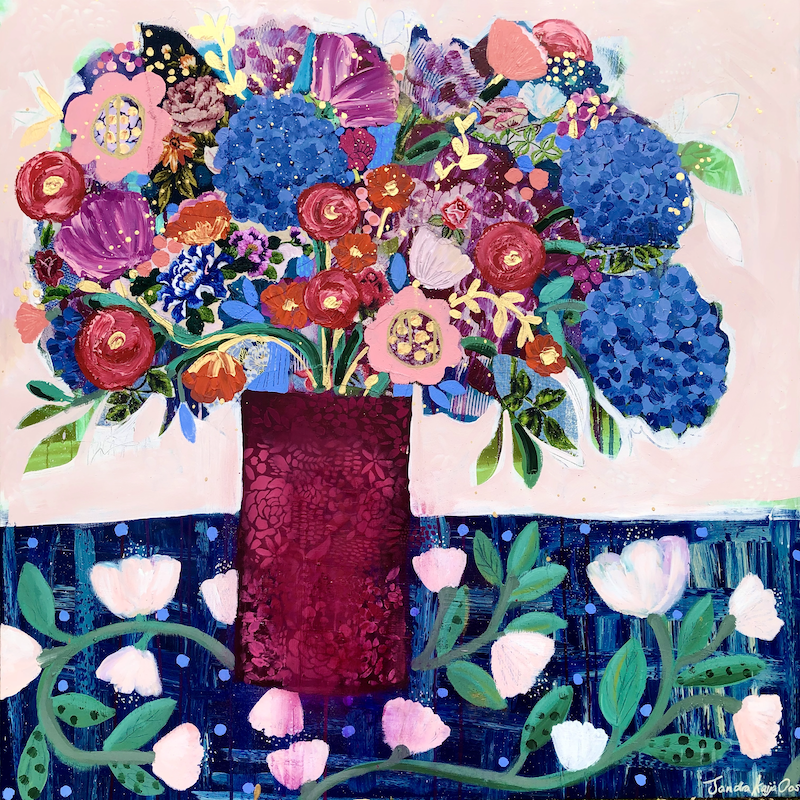 (CreativeWork) Blue Hydrangeas Forever by Sandra Oost. Mixed Media. Shop online at Bluethumb.