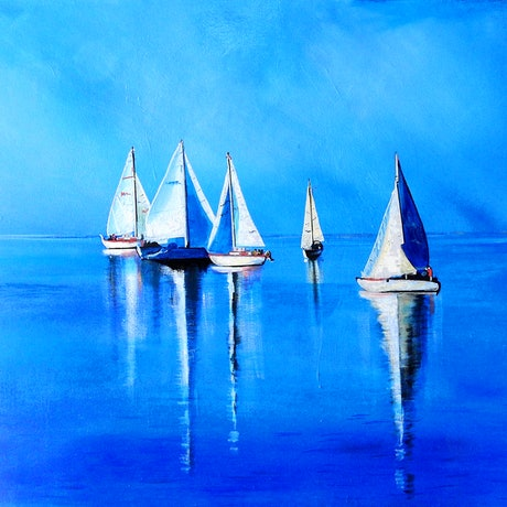(CreativeWork) Nice Day for a Sail by julie hollis. Acrylic Paint. Shop online at Bluethumb.