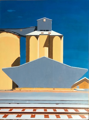 (CreativeWork) Ardlethan Silos by Yianni Johns. Oil Paint. Shop online at Bluethumb.