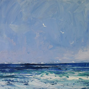(CreativeWork) Seascape blues - textured knife painting by Mike Barr. acrylic-painting. Shop online at Bluethumb.