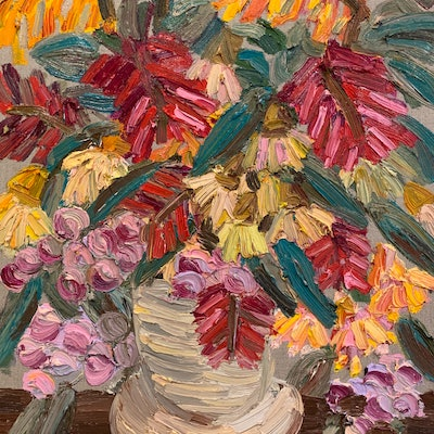 (CreativeWork) Native Bouquet with Lilly Pilly  by Elisabeth Howlett. Oil Paint. Shop online at Bluethumb.