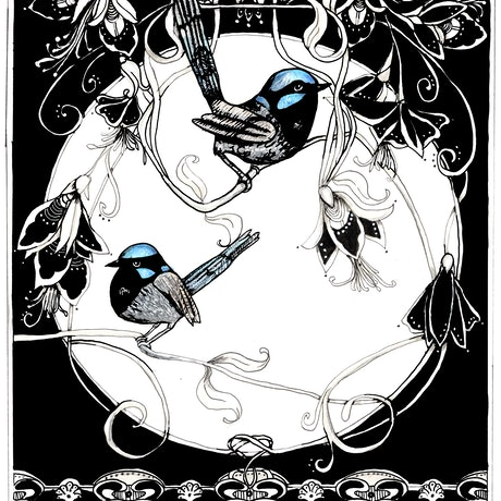 (CreativeWork) Blue wrens nouveau by Jenny Wood. Mixed Media. Shop online at Bluethumb.