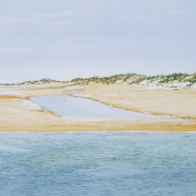 (CreativeWork) Inlet on a Remote Beach by Harry Lea. watercolour. Shop online at Bluethumb.