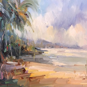(CreativeWork) Palm Bay beach by Liliana Gigovic. oil-painting. Shop online at Bluethumb.