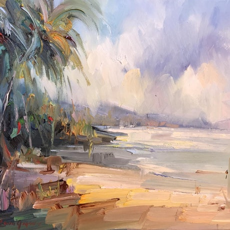 (CreativeWork) Palm Bay beach by Liliana Gigovic. Oil Paint. Shop online at Bluethumb.