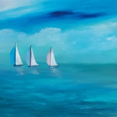 (CreativeWork) Into the  Blue by Fiona Roxburgh. Acrylic Paint. Shop online at Bluethumb.