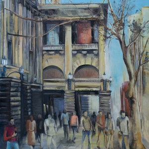 (CreativeWork) Swanston St Commute by Rosa d'Argent. oil-painting. Shop online at Bluethumb.