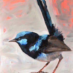 (CreativeWork) Morning Wren by Rebecca Hill. #<Filter:0x00007f1f96fdd678>. Shop online at Bluethumb.