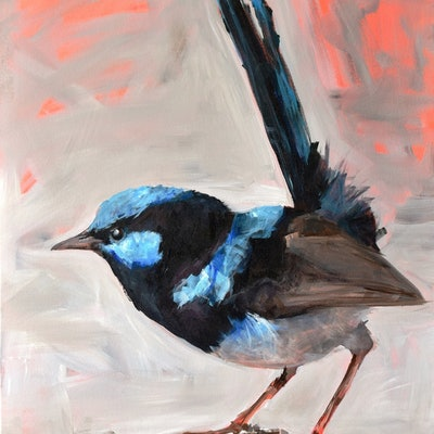 (CreativeWork) Morning Wren by Rebecca Hill. acrylic-painting. Shop online at Bluethumb.