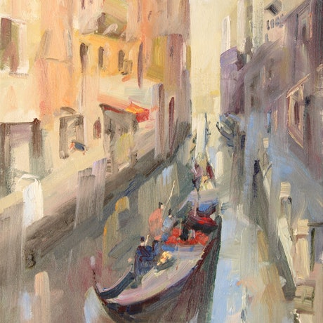 (CreativeWork) Venice Canal  III (framed)  by Li Zhou. Oil Paint. Shop online at Bluethumb.